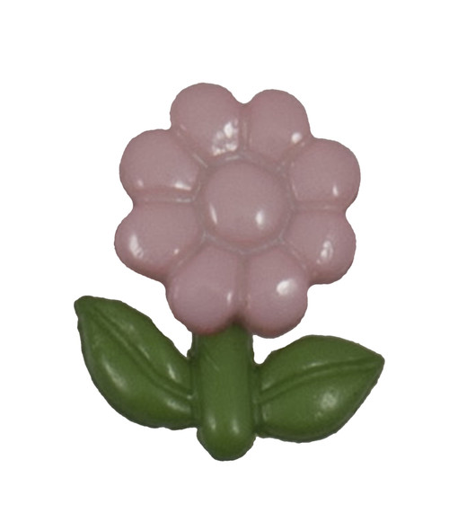 Pink Flower with Green Leaves Shaped 15mm Shank Buttons on Card (Code B) x 4pc