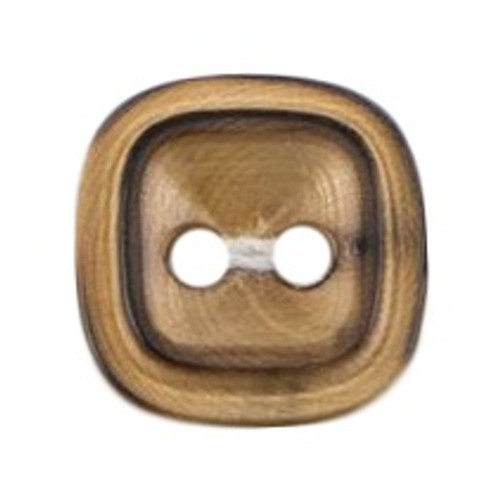 Natural Wood Square 14mm 2-hole Buttons on Card (Code D) x 4pc