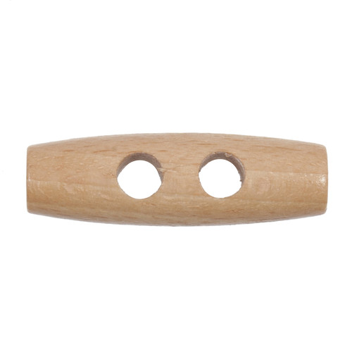 Natural Wood Toggle 40mm 2-hole Buttons on Card (Code C) x 2pc