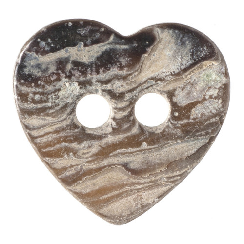 Natural Mother of Pearl Shell Heart Shape 11mm 2-hole Buttons on Card (Code D) x 4pc