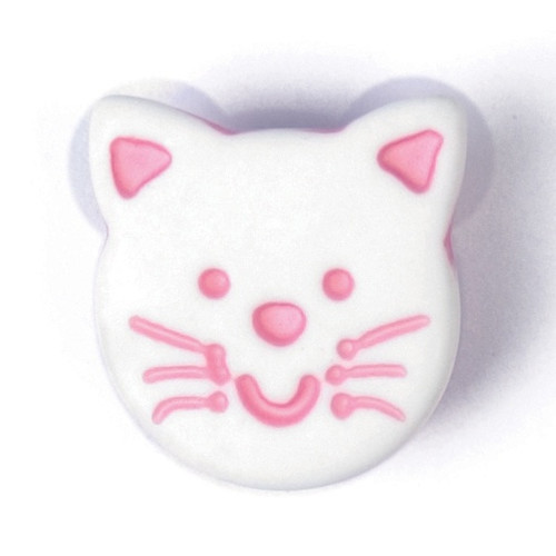 Pink on White Cat Face 14mm Shank Buttons on Card (Code C) x 3pc