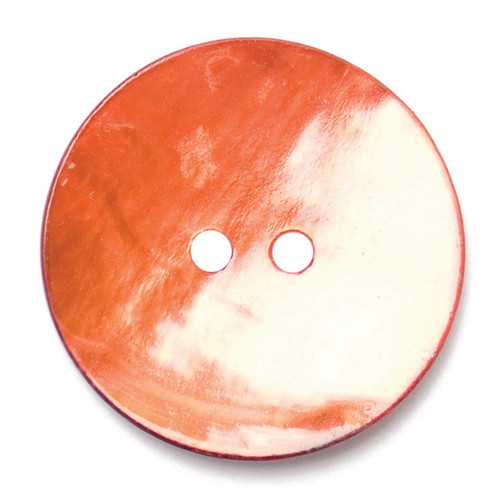 Red Mother of Pearl Shell 22mm 2-hole Buttons on Card (Code E) x 2pc