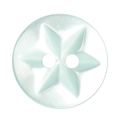 Mint Baby Star 15mm 2-hole Buttons on Card (Code B) x 6pc