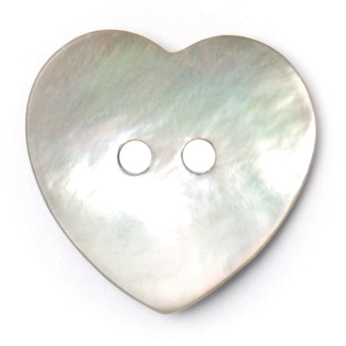 Natural Mother of Pearl Shell Heart Shape 20mm 2-hole Buttons on Card (Code D) x 2pc