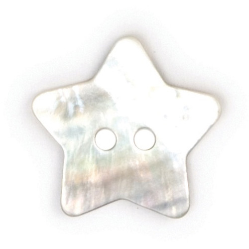 Natural Mother of Pearl Shell Star Shape 20mm 2-hole Buttons on Card (Code D) x 2pc