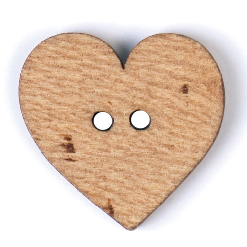 Natural Wood Heart Shape 20mm 2-hole Buttons on Card (Code C) x 2pc