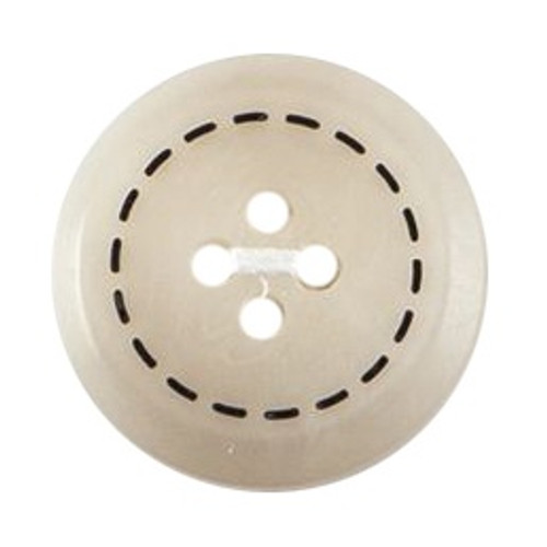 Cream with Stitch Effect 17mm 4-hole Buttons on Card (Code C) x 3pc
