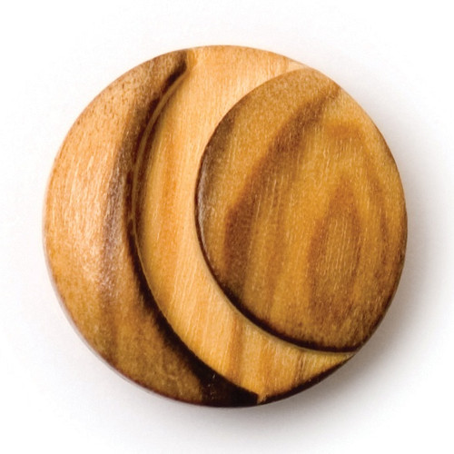 Natural Wood Crescent cut-Out 17mm Shank Buttons on Card (Code C) x 3pc