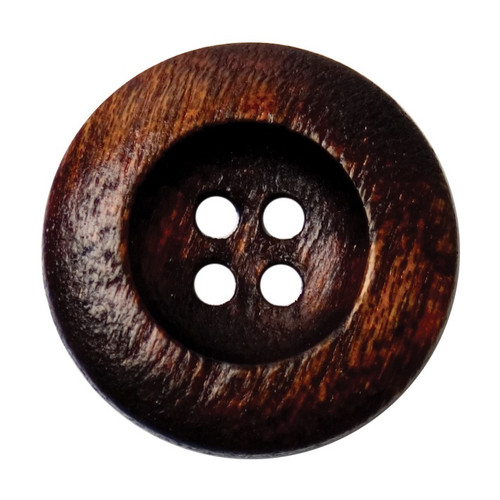 Dark Wood 22mm 4-hole Buttons on Card (Code C) x 3pc