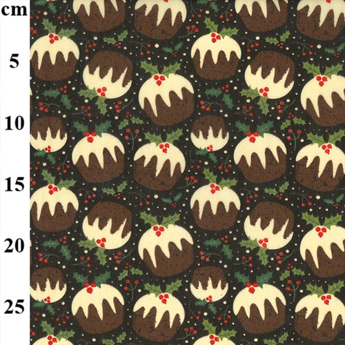 Christmas Puddings on Brown Polycotton Fabric, 43in wide, Sold Per HALF Metre