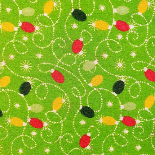 Christmas Fairy Lights on Lime Green Polycotton Fabric, 43in wide, Sold Per HALF Metre