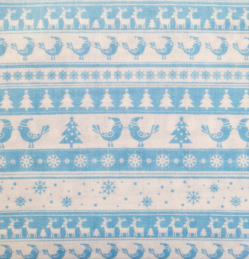 White Christmas Scandi Borders on Ice Blue Polycotton Fabric, 43in wide, Sold Per HALF Metre