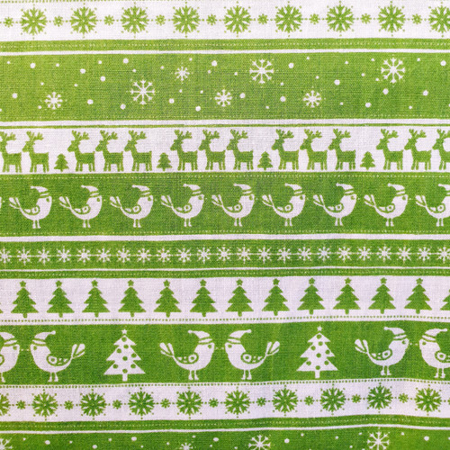 White Christmas Scandi Borders on Lime Green Polycotton Fabric, 43in wide, Sold Per HALF Metre