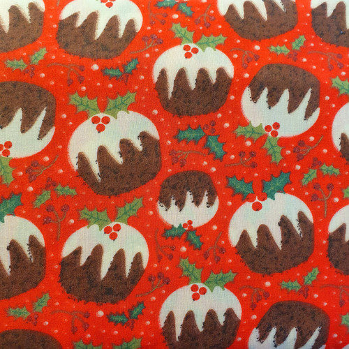 Christmas Puddings on Red Polycotton Fabric, 43in wide, Sold Per HALF Metre