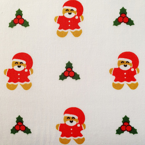 Gingerbread Santas on White Polycotton Fabric, 43in wide, Sold Per HALF Metre
