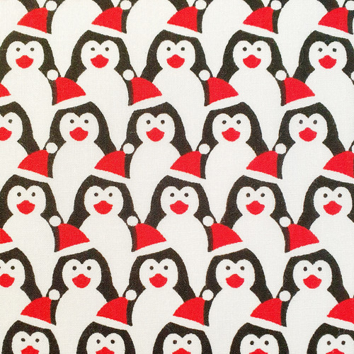 Penguins in Christmas Hats on White Polycotton Fabric, 43in wide, Sold Per HALF Metre