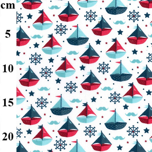 Sailboats on White Polycotton Fabric, 43in wide, Sold Per HALF Metre
