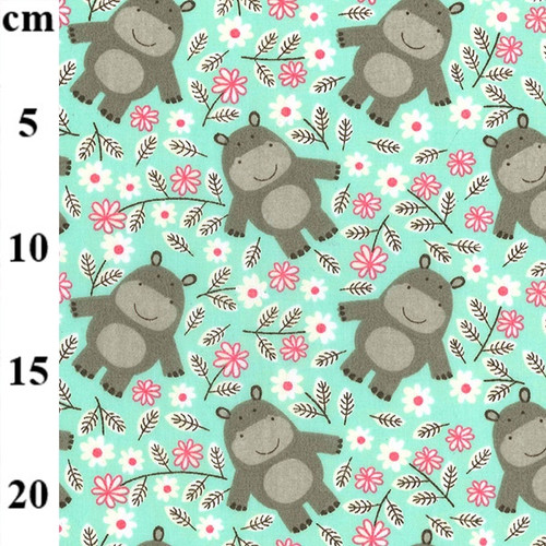 Hippos on Jade Polycotton Fabric, 43in wide, Sold Per HALF Metre