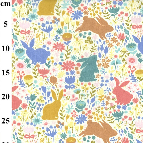 Spring Bunnies Polycotton Fabric, 43in wide, Sold Per HALF Metre