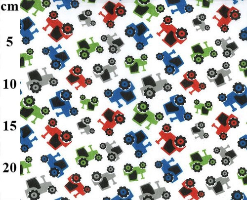 Tractors on White Polycotton Fabric, 43in wide, Sold Per HALF Metre