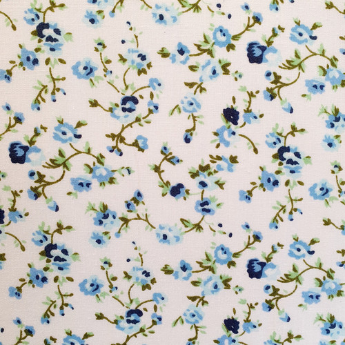 Blue Dainty Floral on White Polycotton Fabric, 43in wide, Sold Per HALF Metre