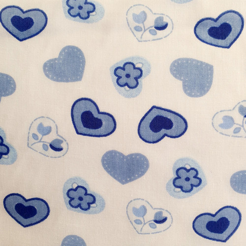Blue Hearts on White Polycotton Fabric, 43in wide, Sold Per HALF Metre