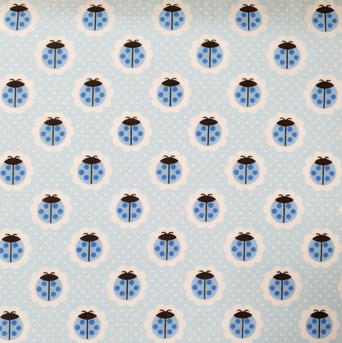 Blue Ladybirds on Polka Dot Polycotton Fabric, 43in wide, Sold Per HALF Metre