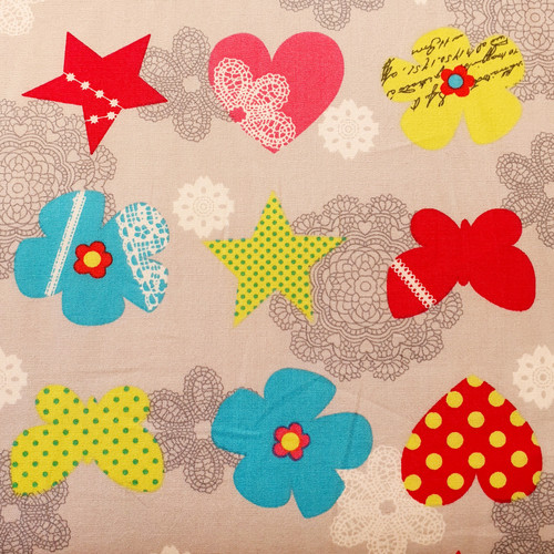 Bright Hearts, Stars, Butterflies & Flowers on Pale Grey Polycotton Fabric, 43in wide, Sold Per HALF Metre