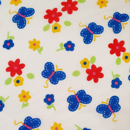 Butterfly Bright on White Polycotton Fabric, 43in wide, Sold Per HALF Metre