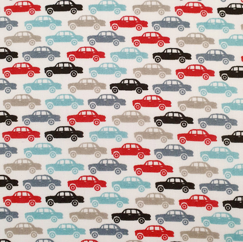 Chasing Cars on White Polycotton Fabric, 43in wide, Sold Per HALF Metre