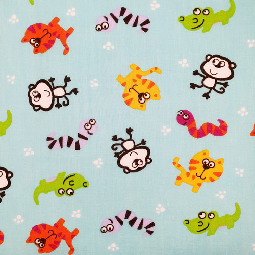Cute Creatures on Turquoise Polycotton Fabric, 43in wide, Sold Per HALF Metre