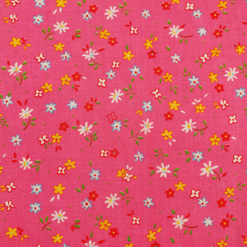 Daisy Floral on Bright Pink Polycotton Fabric, 43in wide, Sold Per HALF Metre