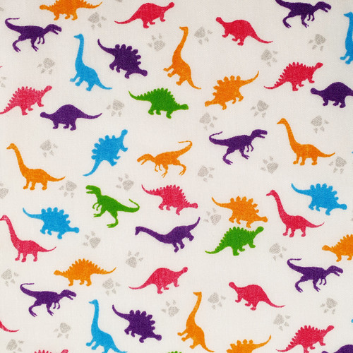 Dinosaur Bright on White Polycotton Fabric, 43in wide, Sold Per HALF Metre