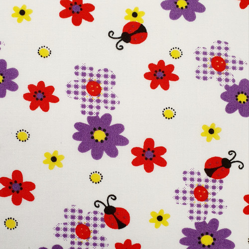 Flowers & Ladybirds on White Polycotton Fabric, 43in wide, Sold Per HALF Metre