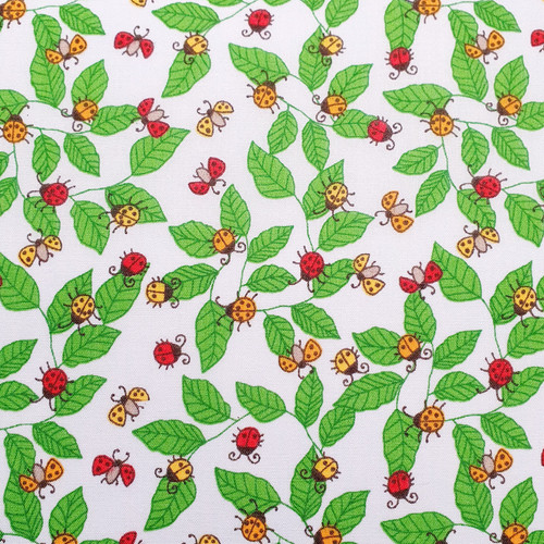 Ladybirds on Sky Blue Polycotton Fabric, 43in wide, Sold Per HALF Metre