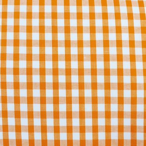 Orange & White Gingham (Medium) Polycotton Fabric, 43in wide, Sold Per HALF Metre