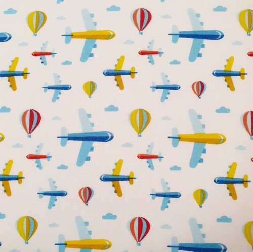 Planes & Balloons Polycotton Fabric, 43in wide, Sold Per HALF Metre