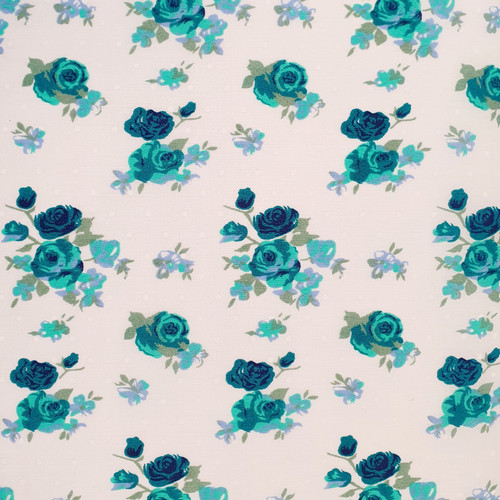 Teal Roses on White Polycotton Fabric, 43in wide, Sold Per HALF Metre