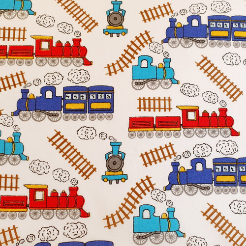 Trains on White Polycotton Fabric, 43in wide, Sold Per HALF Metre