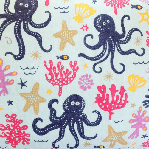 Underwater Creatures on Sea Green Polycotton Fabric, 43in wide, Sold Per HALF Metre