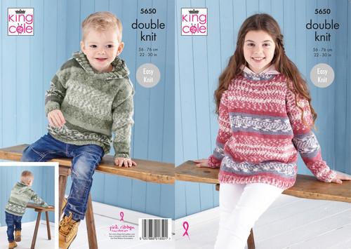 5650 Childrens Sweater & Hoodie DK Knitting Pattern