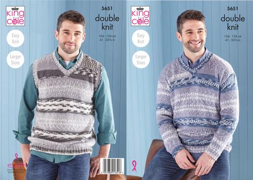 5651 Mens & Teens Sweater & Tank Top DK Knitting Pattern