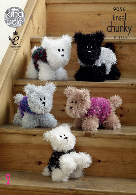 9056 Toy Westie Dogs Tinsel Chunky Knitting Pattern