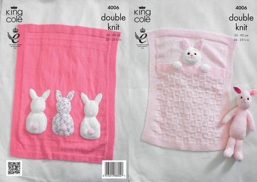 4006 Baby Pram & Cot Blankets and Bunny Rabbit Toy DK Knitting Pattern