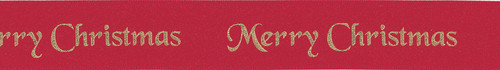 """Gold """"Merry Christmas"""" on Red Satin Ribbon, 25mm wide (Sold Per Metre)"""