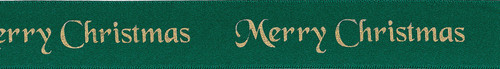 """Gold """"Merry Christmas"""" on Green Satin Ribbon, 25mm wide (Sold Per Metre)"""