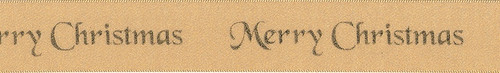 """Gold """"Merry Christmas"""" on Gold Satin Ribbon, 25mm wide (Sold Per Metre)"""
