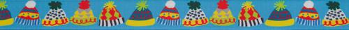 Bobble Hats on Blue Ribbon, 25mm wide (Sold Per Metre)