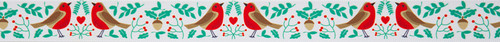 Robins with Mistletoe on White Christmas Ribbon, 25mm wide, Sold Per Metre