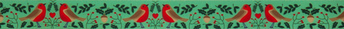 Robins with Mistletoe on Green Christmas Ribbon, 25mm wide (Sold Per Metre)